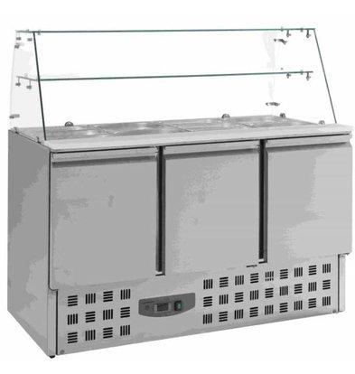 CHRselect Saladette Inox | 3 Portes | 4x GN1/1 | Vitrine en Verre | 1365x700x850(h)mm
