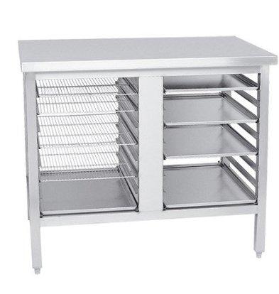 CHRselect Table de Préparation Inox | 10x Racks de 40x60cm | 1000x700x900(h)mm