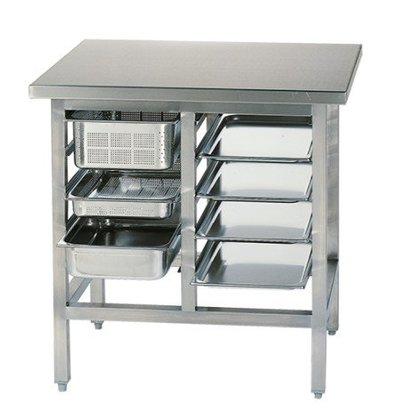 CHRselect Table de Préparation Inox | 10x Racks de GN1/1 | 900x700x900(h)mm