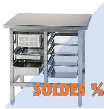 CHRselect Table de Préparation Inox | 10x Racks de GN1/1 | PROMOTION XXL!