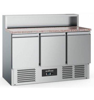 Combisteel Comptoir à Pizza Inox   Pour 7x GN1/6    3 Portes   1370x700x1080(h)mm   Livraison Fin Decembre