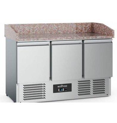 Combisteel Comptoir à Pizza Inox   3 Portes   1400x700x1020(h)mm   Livrable á partir de Février 2019