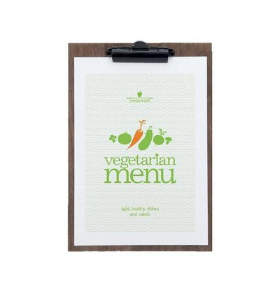 Securit Plaque Porte-Menu | Noyer Laqué | Format A4