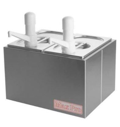Emga Distributeur de Sauces INOX | Complet 2x1/4GN