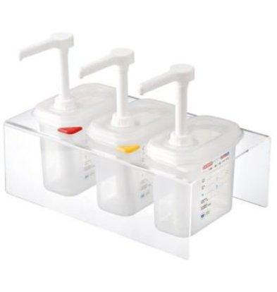 Emga Distributeur de Sauces Plastique | Complet 3x 1/9GN - 150mm