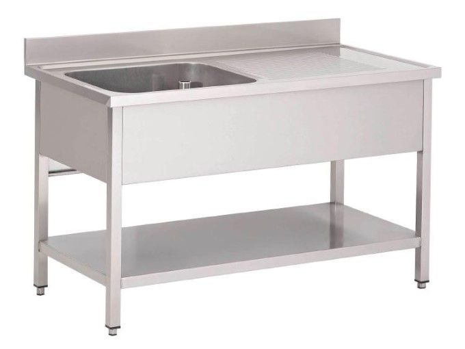 Table de pr lavage inox 1 evier tag re basse usage for Table inox evier