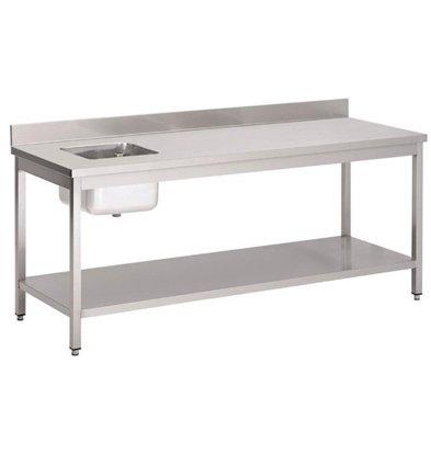 Gastro M Table de Prélavage INOX   Bac à Droite   Dosseret et Etagere Basse   1800x700x850(h)mm