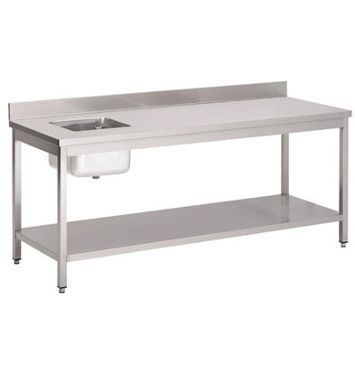 Gastro M Table de Prélavage INOX   Bac à Droite   Dosseret et Etagere Basse   1600x700x850(h)mm