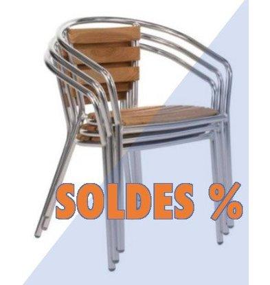 CHRselect Chaises de Terrasse | Aluminium/Frêne | Lot de 12 | PROMOTION XXL!
