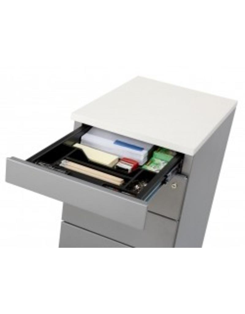 Huislijn ladenblok bureauhoogte 3 laden en topblad multi for Stalen ladenblok