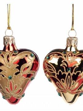 Goodwill Christmas ball ornament Damask heart