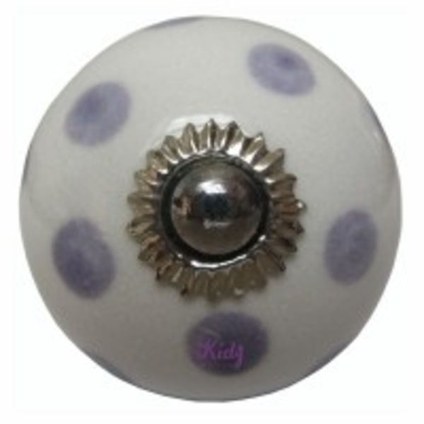 Deurknopje porselein wit met paarse stippen