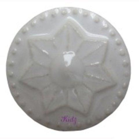 Deurknop porselein ster wit groot