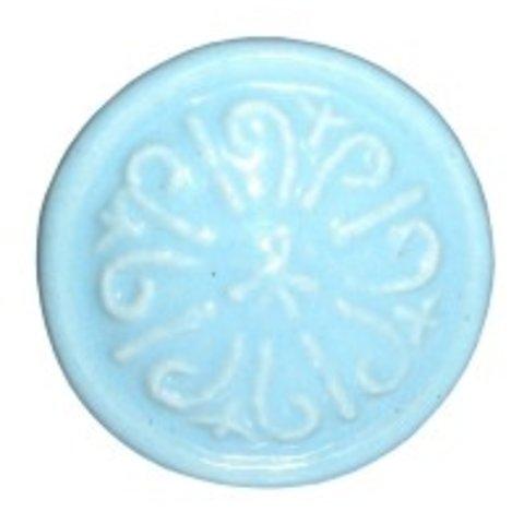 Deurknop porselein relief blauw