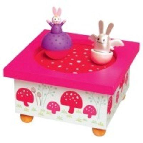 Trousselier muziekdoos dansende konijntjes roze