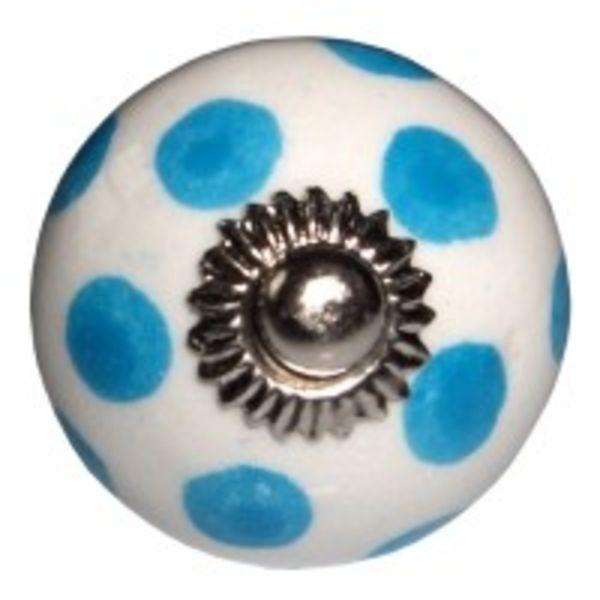 Deurknop stip lichtblauw