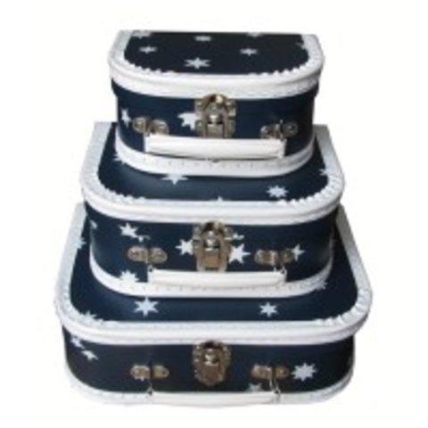 Speelgoedkoffer donkerblauw met sterren