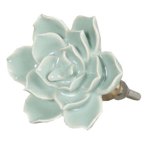 Deurknop bloem turquoise groot