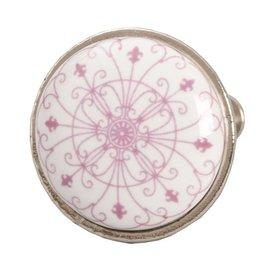 Clayre & Eef Deurknopje wit met roze patroon