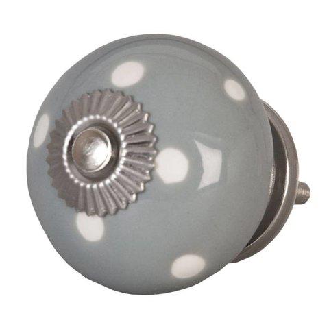 Deurknop grijs met witte stippen groot