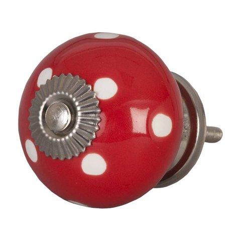 Deurknop rood met witte stippen groot