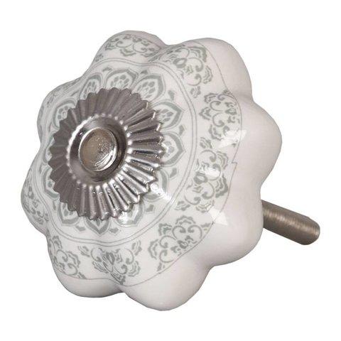 Deurknopje bloem wit met grijs groen patroon