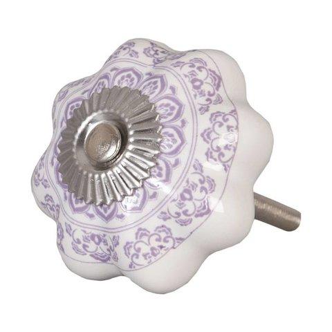 Deurknopje bloem wit met paars patroon