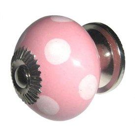 Clayre & Eef Deurknop porselein roze met witte stippen