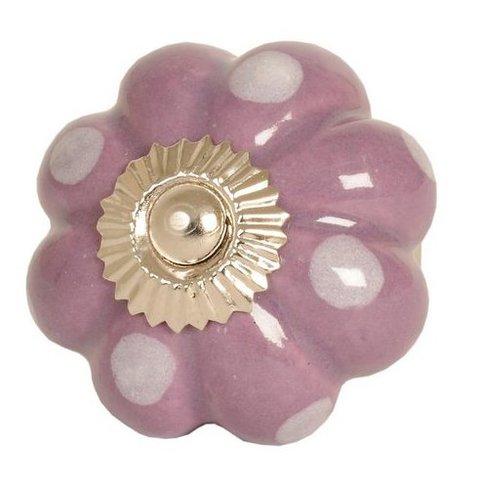 Deurknop bloem paars met witte stippen