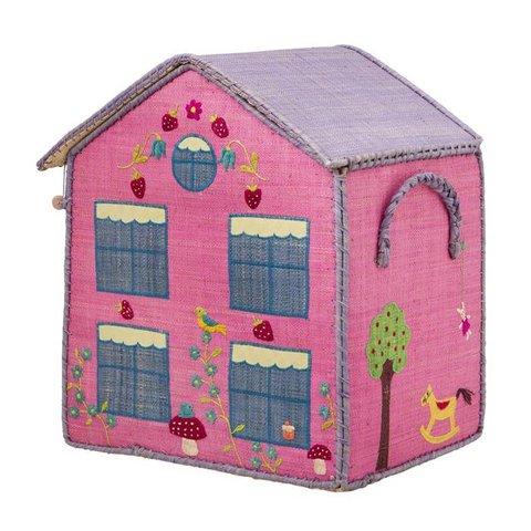 Rice speelgoedmand meisje huis roze