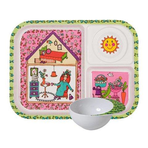 Rice kinderservies set garden lady