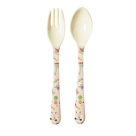 Rice melamine vork en lepel circus girl