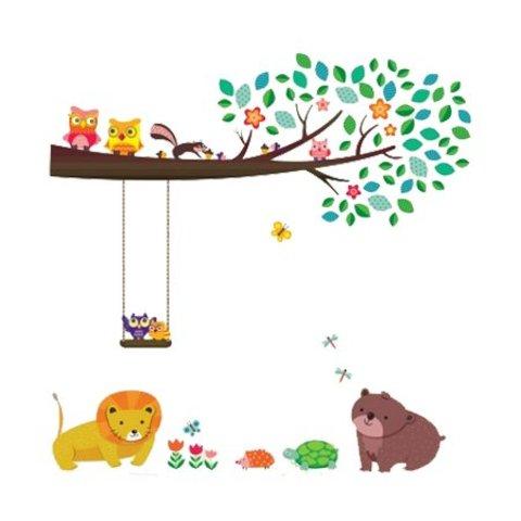 Decowall muursticker tak met dieren