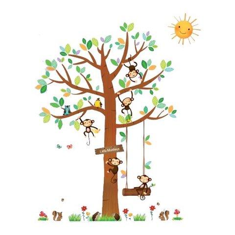 Decowall muursticker boom met aapjes