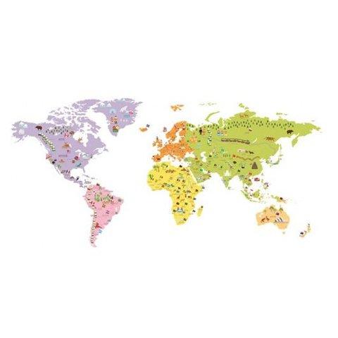 Decowall muursticker wereldkaart groot
