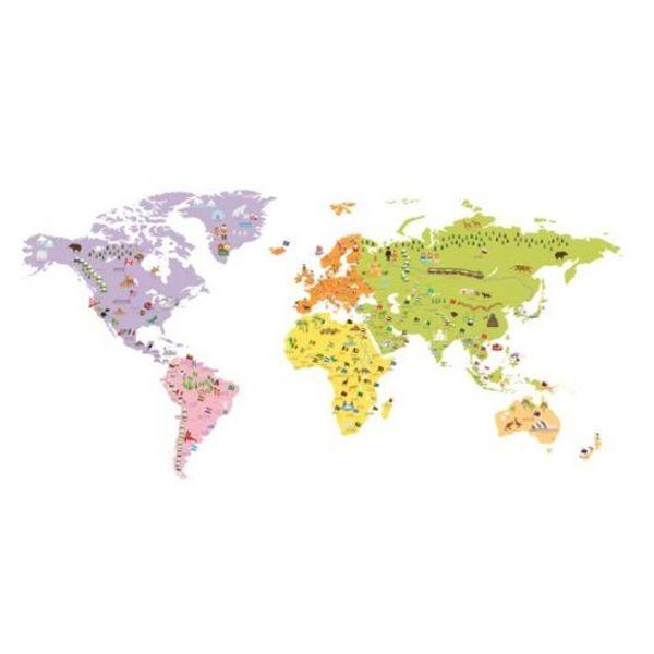 Decowall Decowall muursticker wereldkaart groot