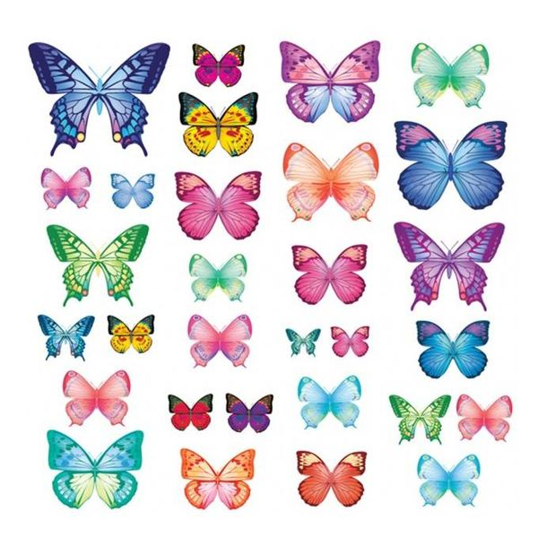 Decowall Decowall muursticker vlinders vibrant butterflies groot