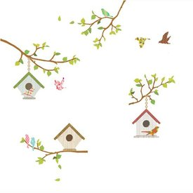 Decowall Decowall muursticker vogelhuisjes