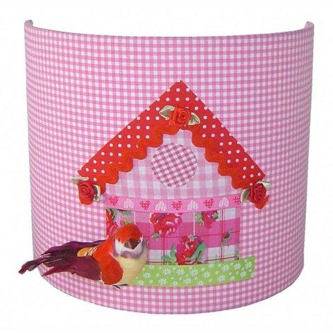 Designed4kids wandlamp vogelhuisje roze