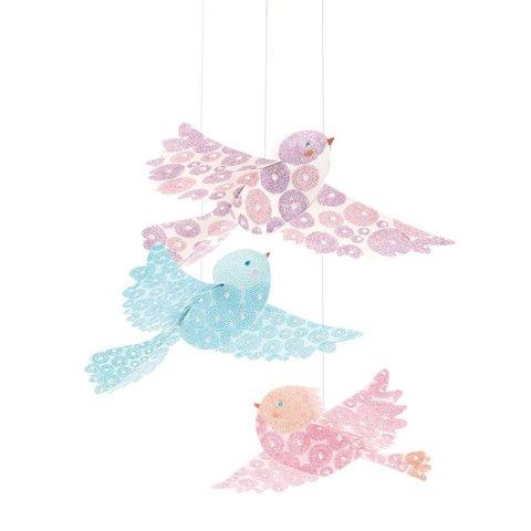 Djeco decoratie hangers glitter vogels