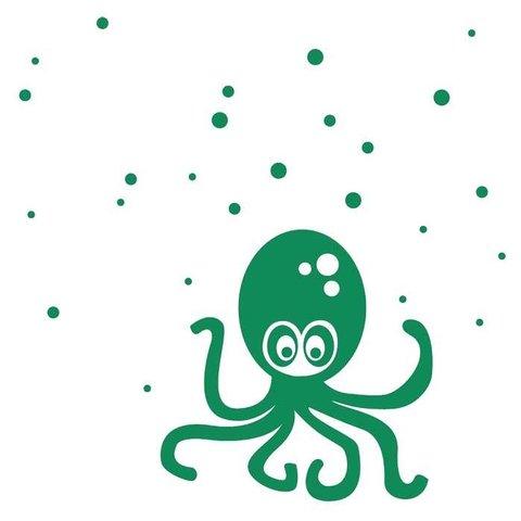 Ferm Living muursticker octopus groen