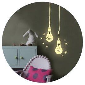 Mimi'lou Mimilou fluorescerende muursticker gloeilampjes