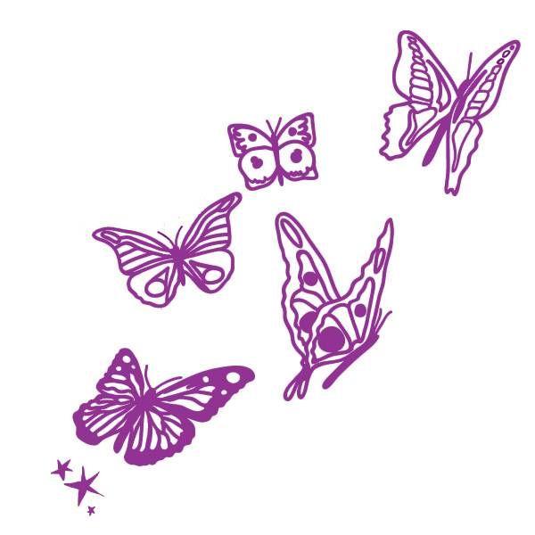 Mimi'lou Mimi'lou muursticker vlinders paars