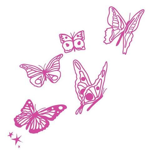 Mimi'lou muursticker vlinders fuchsia