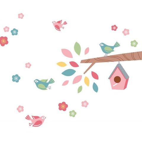 Forwalls muursticker tak met vogels en vogelhuis