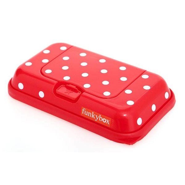 funkybox Funkybox To Go bewaardoos voor billendoekjes en snoetenpoetsers rood