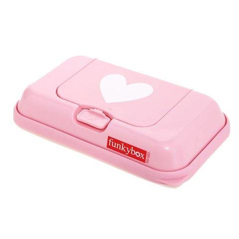 Funkybox To Go bewaardoos voor billendoekjes en snoetenpoetsers roze hartjes