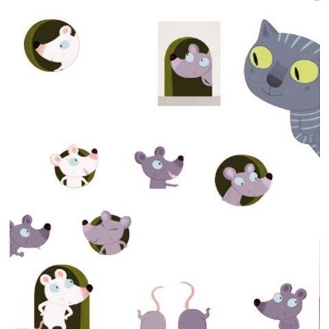 Nouvelles Images muursticker poes en muis