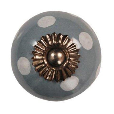La Finesse kastknopje grijs met witte stippen