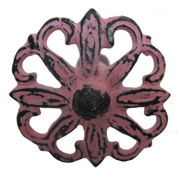 Harvey's Home Deurknop bloem metaal antiek roze